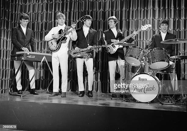 The Dave Clark Five during their film appearance in 'The GoGo Set' at the MetroGoldwynMayer studios at Boreham Wood Hertfordshire From left to right...