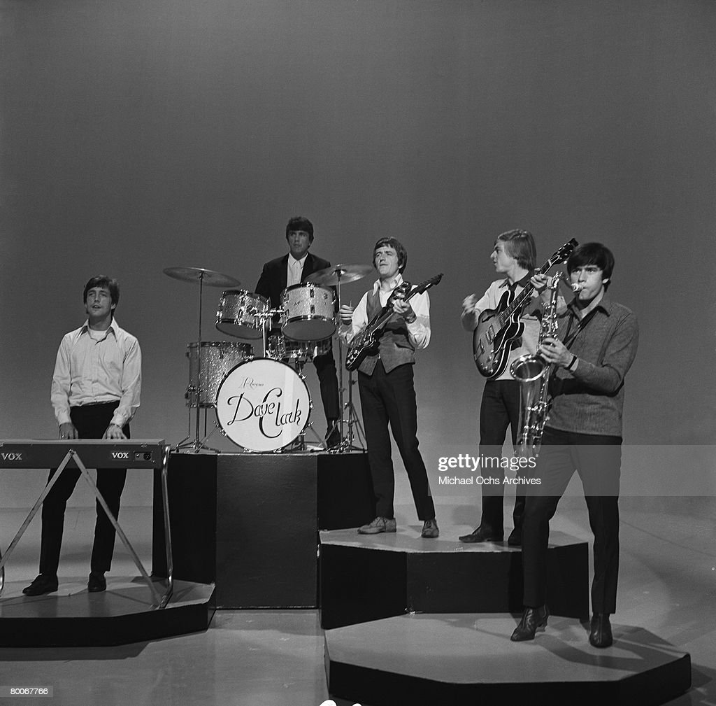 The Dave Clark Five L-R Mike Smith, Dave Clark, Rick Huxley, Lenny Davidson and Denis Peyton rehearse for an appearance on the TV show Shindig circa 1965 in Los Angeles, California.