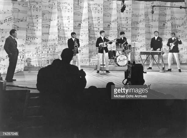 The Dave Clark Five perform on the Ed Sullivan TV show in 1965 in New York City New York Ed Sullivan Denis 'Denny' Payton Rick Huxley Dave Clark Mike...
