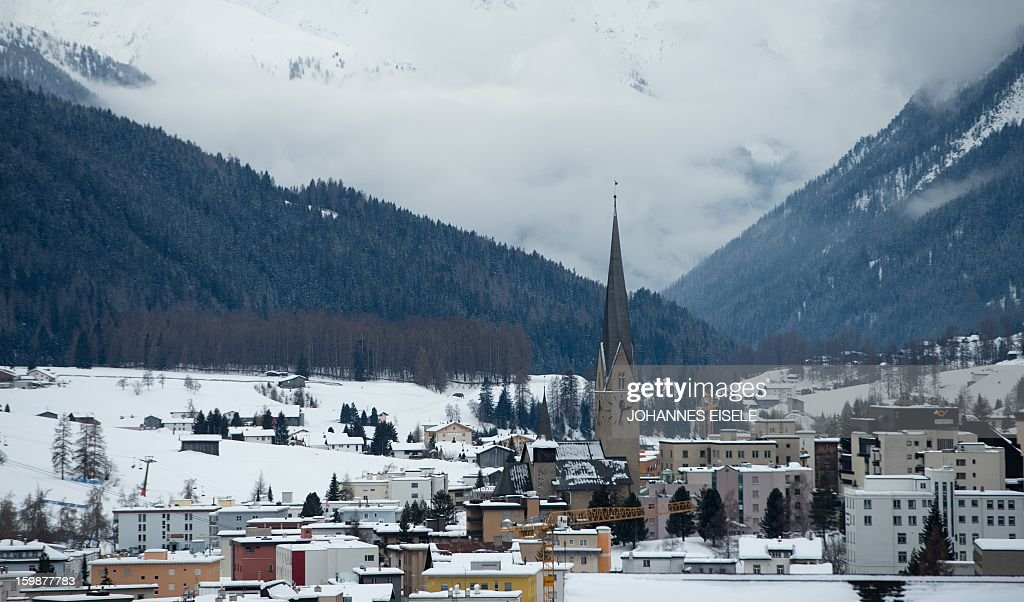 The Davos town is pictured on January 22, 2013 at the Swiss resort of Davos. The World Economic Forum (WEF) will take place from 23 to the 27 of January. AFP PHOTO / JOHANNES EISELE