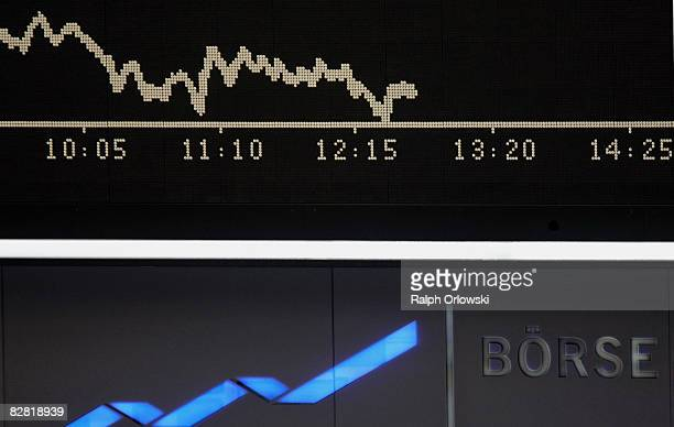 The Dax Index board and a huge logo of Deutsche Boerse Group AG are pictured during a trading session at Frankfurt stock exchange on September 15...