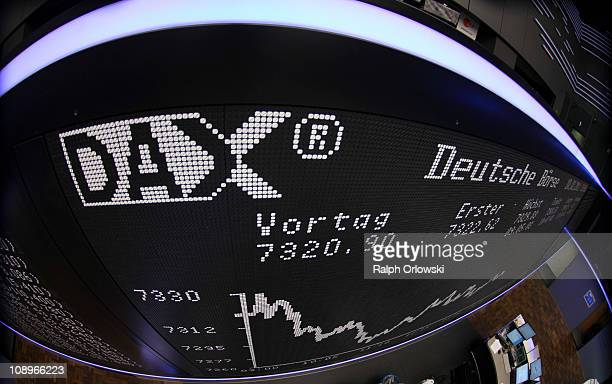 The DAX Index board is pictured during a trading session at the Frankfurt Stock Exchange on February 10 2011 in Frankfurt am Main Germany According...