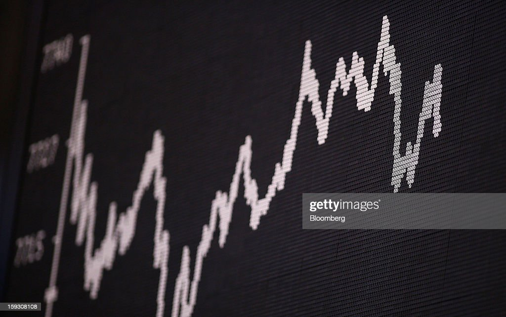The DAX Index curve is displayed on a board at the Frankfurt Stock Exchange in Frankfurt, Germany, on Friday, Jan. 11. 2013. European stocks pared their decline as Italy's borrowing costs dropped at a debt sale, offsetting concern that China has less room for monetary easing after a reported showed inflation increased more than estimated. Photographer: Ralph Orlowski/Bloomberg via Getty Images