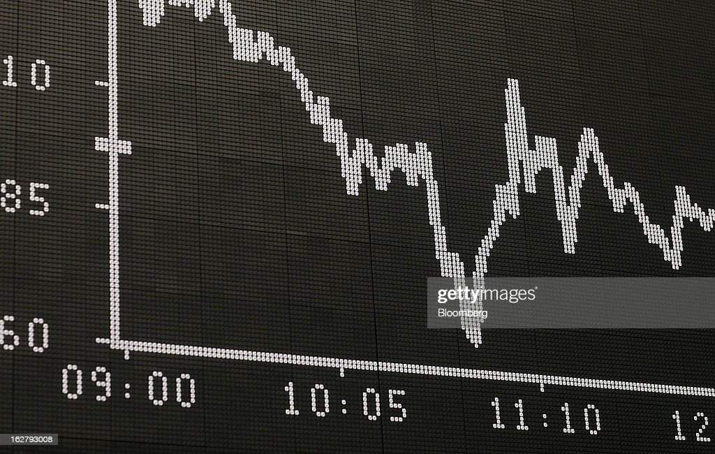 The DAX index curve is displayed on an electronic board at the Frankfurt Stock Exchange in Frankfurt, Germany, on Tuesday, Feb. 27, 2013. Stocks rose, the euro strengthened from a seven-week low and Italian 10-year bonds gained after the country sold 6.5 billion euros ($8.5 billion) of debt amid political turmoil. Photographer: Ralph Orlowski/Bloomberg via Getty Images