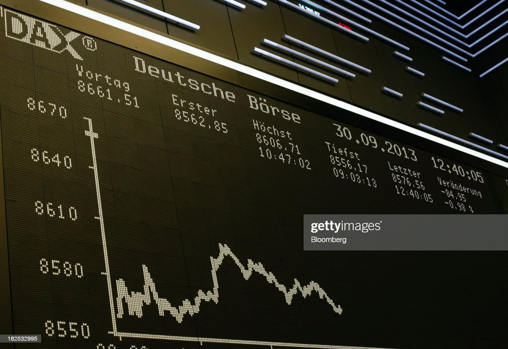 The DAX index curve is displayed on an electronic board at the Frankfurt Stock Exchange in Frankfurt, Germany, on Monday, Sept. 30, 2013. Global stocks fell, trimming their biggest quarterly gain since the start of 2012, while the Japanese yen strenghtened before a potential U.S. government shutdown. Photographer: Ralph Orlowski/Bloomberg via Getty Images