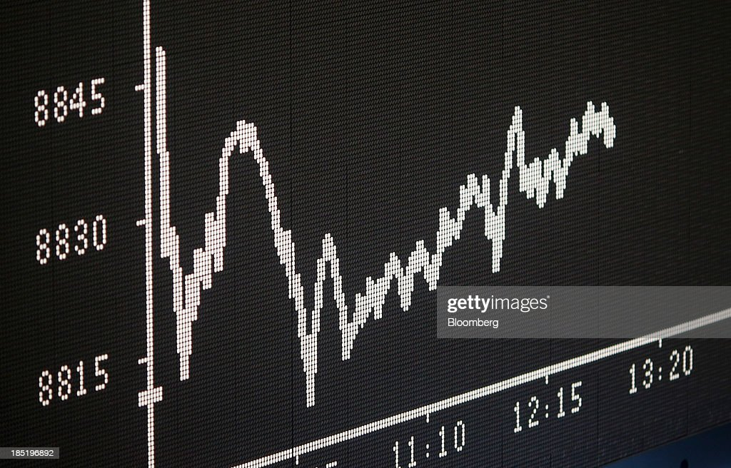 The DAX index curve is displayed on an electronic board at the Frankfurt Stock Exchange in Frankfurt, Germany, on Friday, Oct. 18, 2013. Global stocks rose for a third day, extending a five-year high, and copper climbed after China's economic growth quickened. Photographer: Ralph Orlowski/Bloomberg via Getty Images