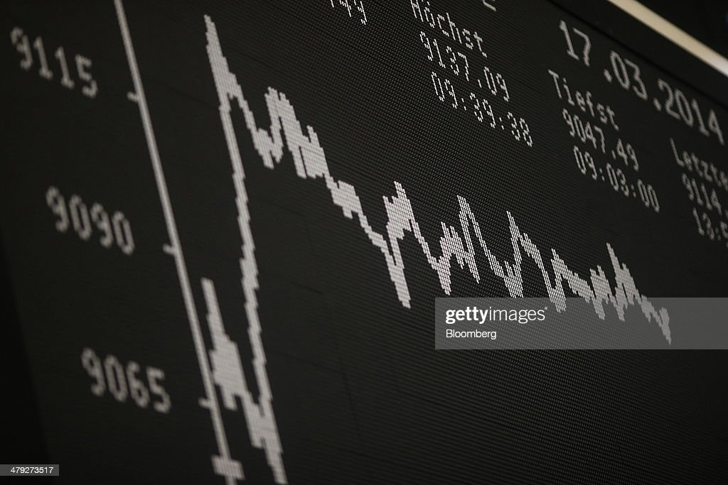 The DAX index curve is displayed on an electronic board at the Frankfurt Stock Exchange in Frankfurt, Germany, on Monday, March 17, 2014. European stocks advanced, following their biggest weekly drop since January, as companies from RWE AG to Vodafone Group Plc rose amid renewed merger-and-acquisition activity. Photographer: Ralph Orlowski/Bloomberg via Getty Images