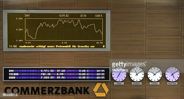 The DAX index curve is seen above the Commerzbank AG logo in the Commerzbank trading room in Frankfurt Germany on Monday Feb 8 2010 European stocks...