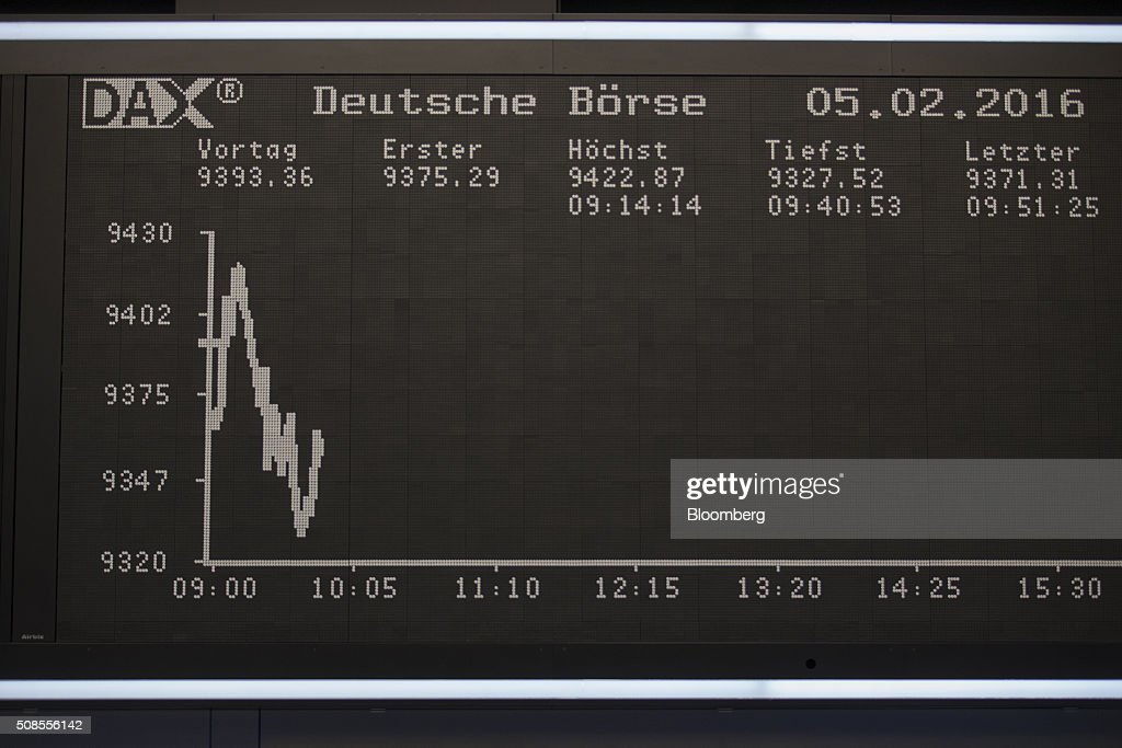 The DAX Index curve sits displayed on an electronic board inside Frankfurt Stock Exchange in Frankfurt Germany on Friday Feb 5 2016 The euro climbed...