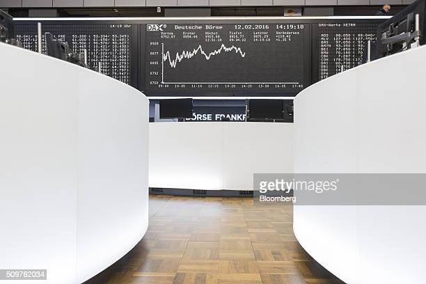The DAX Index curve sits displayed on an electronic board inside the Frankfurt stock exchange in Frankfurt Germany on Friday Feb 12 2016 A rebound in...