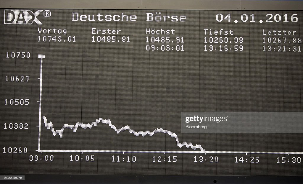The DAX Index curve sits displayed on an electronic board on the first day of 2016 trading at the Frankfurt Stock Exchange in Frankfurt Germany on...