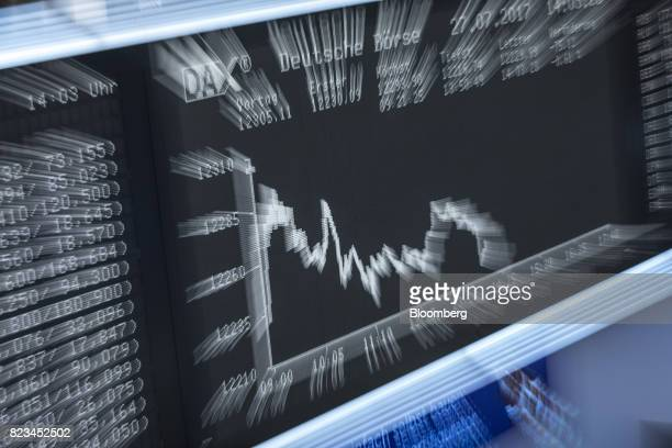 The DAX index curve sits on display on an electronic screen inside the Frankfurt Stock Exchange operated by Deutsche Boerse AG in Frankfurt Germany...