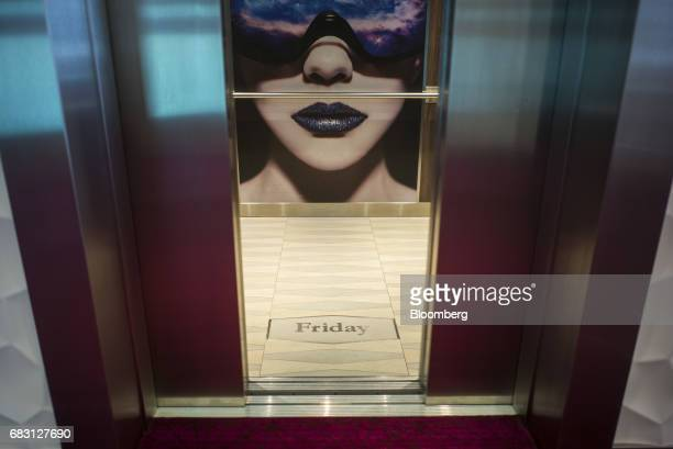 The day of the week is displayed on the floor of an elevator on board the Ovation of the Seas Quantumclass cruise ship operated by Royal Caribbean...
