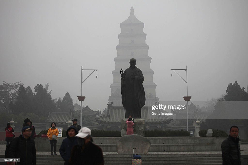 The Dayan Tower is shrouded in smog on December 18, 2013 in Xi An, China. Heavy smog has shrouded Xi'an for two days, and local environment agency advised people to stay indoors.