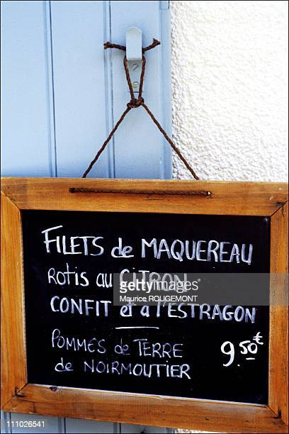 The day's menu hanging on the restaurant's door in Noirmoutier Island in Ile de Noirmoutier France on October 17th 2005