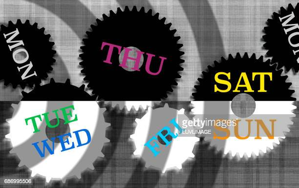 The days of the week in english language spread over a set of gears.