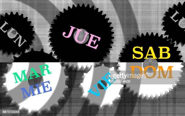 The days of the week in Spanish language spread over a set of gears.