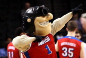 The Dayton Flyers mascot Rudy walks on the court during a stoppage against the Saint Joseph's Hawks during the Quarterfinals of the 2014 Atlantic 10...