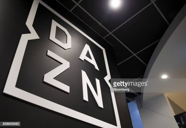 The DAZN logo is displayed at the company's offices in Tokyo Japan on Wednesday Aug 2 2017 DAZN a UKowned sportsstreaming service rattled Japans...