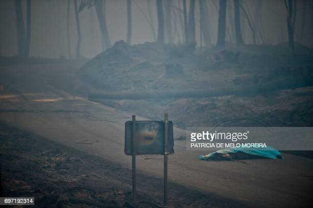TOPSHOT The dead body of a victim of a wildfire lies covered by a blanket on a road in Pedrogao on June 18 2017 A wildfire in central Portugal killed...