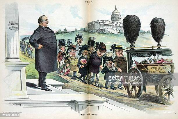 The dead issue by John S Pughe 18701909 artist 1895 shows President Cleveland standing on the steps of the 'White House' watching a funeral...