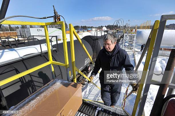 The Dead River propane terminal in Auburn Dead River company employee Dan Printup oversees the transfer of liquid propane from the rail cars to the...