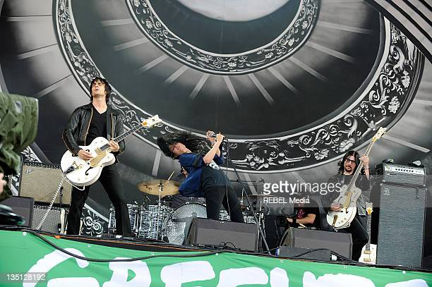 The Dead Weather perform on stage at Glastonbury Festival at Worthy Farm on June 26 2010 in Glastonbury England