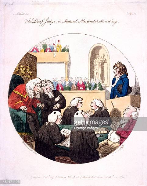 'The deaf judge or mutual misunderstanding' 1796 a scene at the Old Bailey London On the left an aged judge leans forward to listen to a barrister...