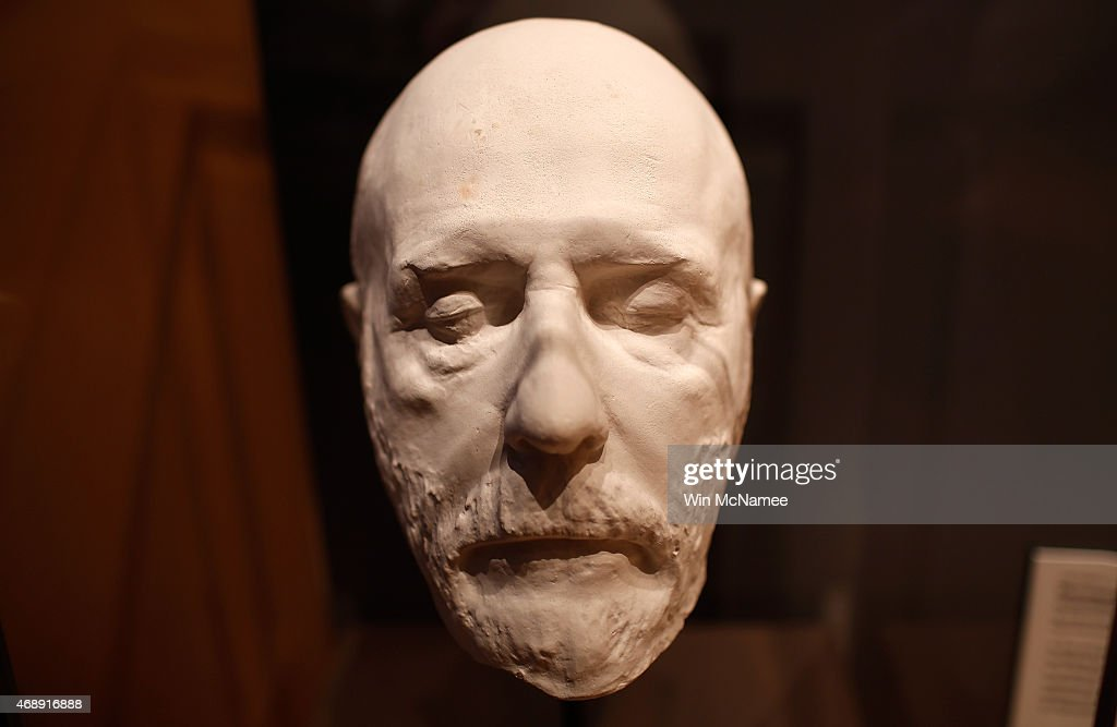 The 'death mask' of Confederate General Robert E Lee is shown on display at the Museum of the Confederacy April 8 2015 in Appomattox Virginia...