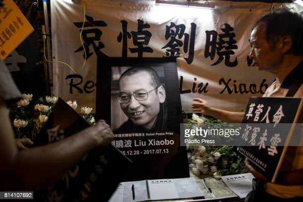 The death of Chinese Nobel Peace Prize winner Liu Xiaobo outside the Chinese Liaison Office in Sai Wan Hong Kong Liu Xiaobo died of cancer in...