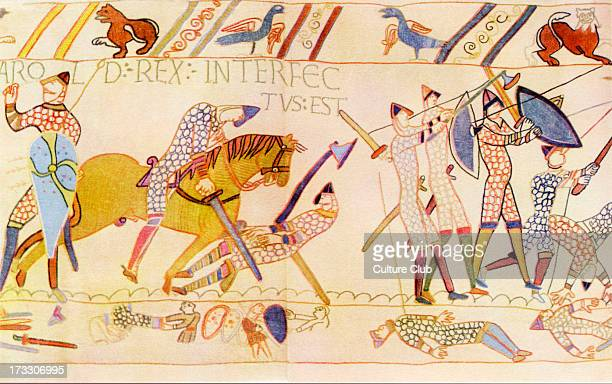The Death of Harold at the Battle of Hastings 1066 Detail from the Bayeux Tapestry/ Tapisserie de Bayeux La telle du conquest a 05by6838metre long...