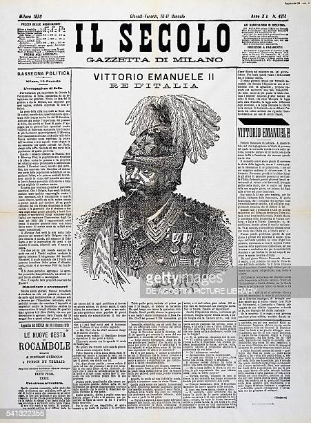 The death of Vittorio Emanuele II first page of Il Secolo 10 January 1878 Italy 19th century