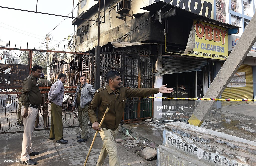 The debris of the dry cleaning shop where a family of four died in an early morning fire at Dilshad Garden on February 9, 2016 in New Delhi, India. The family ran a dry cleaning unit at their flat in the M block DDA colony of Dilshad Garden.