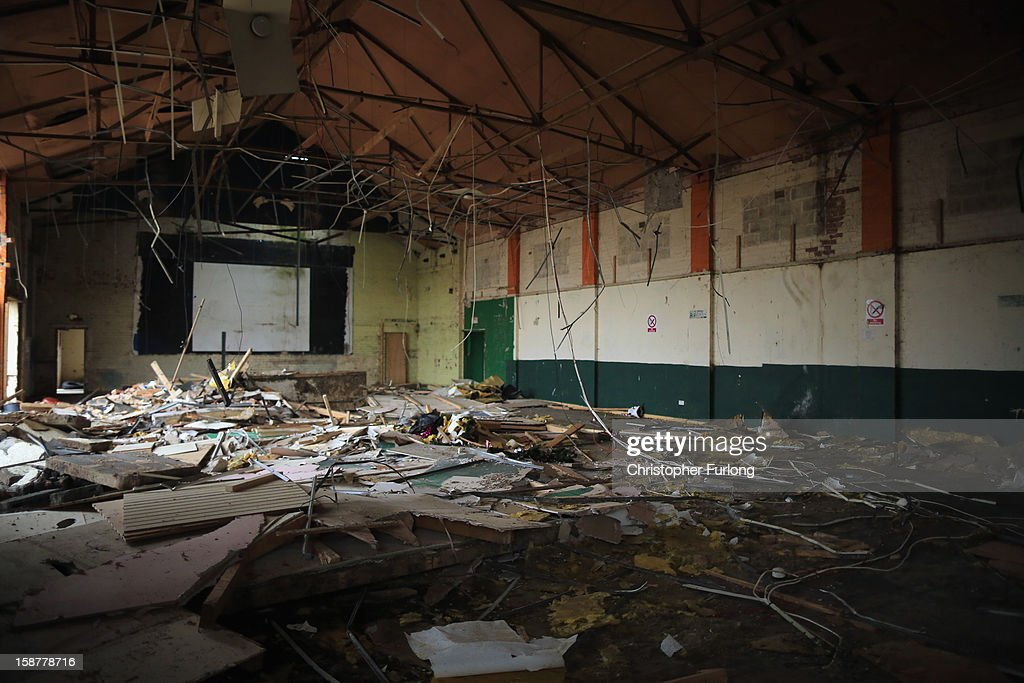 The decaying interior of the entertainment centre awaits demolition at Pontins Holiday Camp on December 28, 2012 in Blackpool, England. The Pontin's holiday park in Blackpool is scheduled for demolition after closing in 2009 due to falling visitor numbers, with the land being earmarked for a housing project. The Pontin's British holiday business was originally founded in 1946 by Fred Pontin, providing chalet style holiday accommodation and on site entertainment to visitors. Millions of Britons visited Pontins in it's heyday, being entertained by its famous Blue Coat hosts.