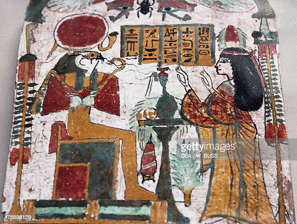 The deceased adoring RaHarakhte detail of a stele Egyptian civilisation New Kingdom Cairo Egyptian Museum