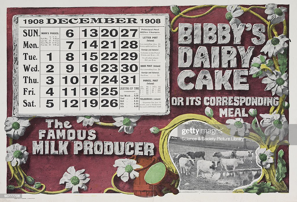 The December page of Bibby�s promotional calendar of 1908 features an advertisement for �dairy cake� and illustrations of cows Bibby�s was founded...