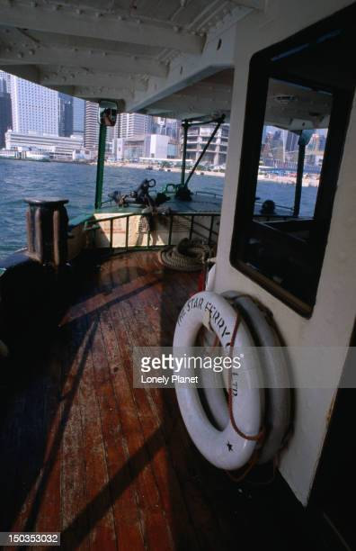 The deck of the Star Ferry from Tsim Sha Tsui across to Hong Kong Harbour.