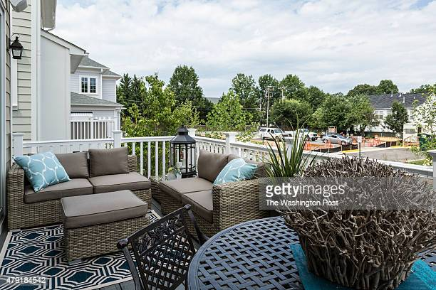 The Deck off the Living Area at the Beaumont Model at Eleven Oaks on June 25 2015 in Fairfax Virginia