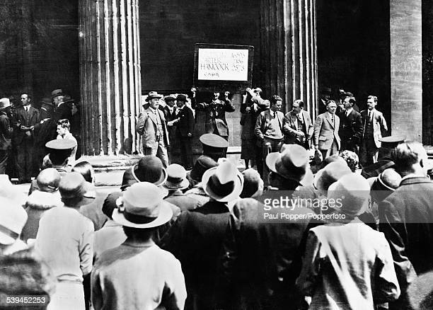 The declaration of the poll for Worcestershire Bewdley Division at the Town Hall during the General Election UK May 1929 The results show a clear...
