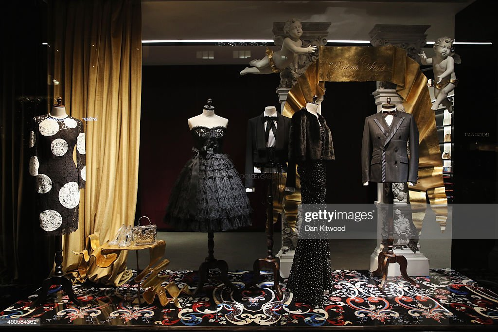 The decorated Christmas shop windows of Dolce and Gabbana on Bond Street on December 15 2014 in London England Many prominent retailers in the...
