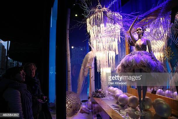 The decorated Christmas shop windows of Harrods department store in Knightsbridge on December 10 2014 in London England Many prominent retailers in...
