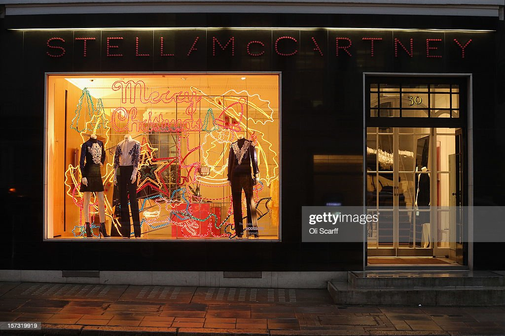 The decorated Christmas shopfront of the Stella McCartney store on Bruton Street on November 26, 2012 in London, England. Many prominent retailers in the capital have produced elaborate festive window displays to entice Christmas shoppers with less than one calendar month remaining before Christmas Day.