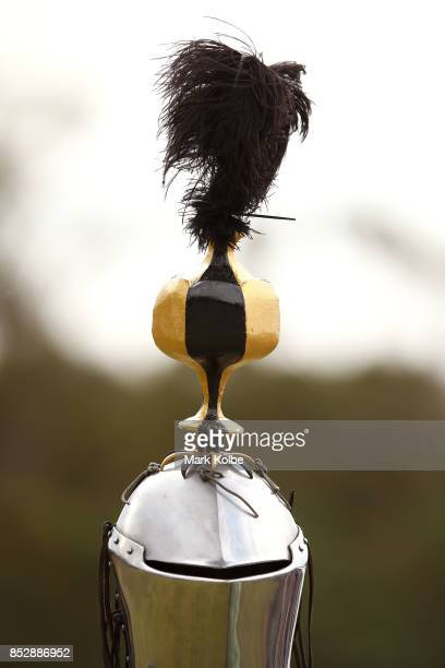 The decorated helmet of Luke Binks of Australia is seen as he competes in the World Jousting Championships on September 24 2017 in Sydney Australia...