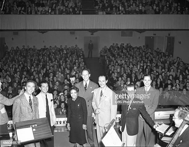 The dedication ceremony of CBSKNX Columbia Square radio studios Hollywood CA on April 30 1938 Pictured 'Swing' stars Skinnay Ennis Mannie Klein...