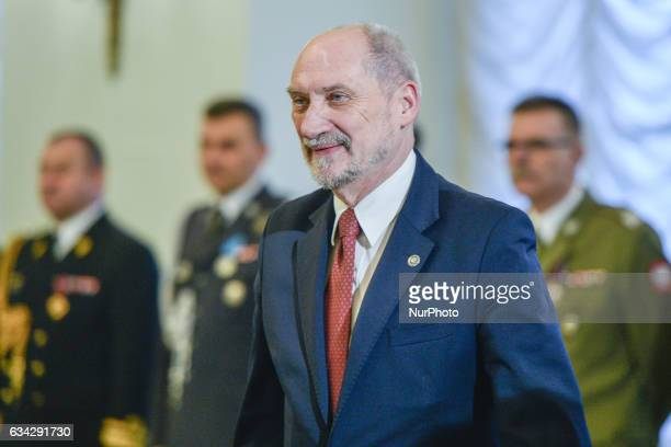 The Defence Minister Antoni Macierewicz arrives at the appointment of the new Commander of the Armed Forces General Jaroslaw Mice and removed the...