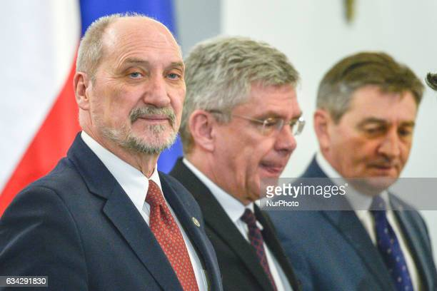 The Defence Minister Antoni Macierewicz arrives for the appointment of the new Commander of the Armed Forces General Jaroslaw Mice and removed the...