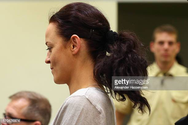 The defendant Beate Zschaepe looks on prior to the trial during day ten of the NSU neoNazis murder trial at the Oberlandgericht Muenchen court on...