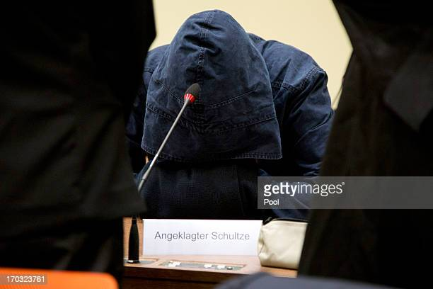 The defendant Carsten S hides his face under his hood prior to the trial during day eight of the NSU neoNazis murder trial at the Oberlandgericht...