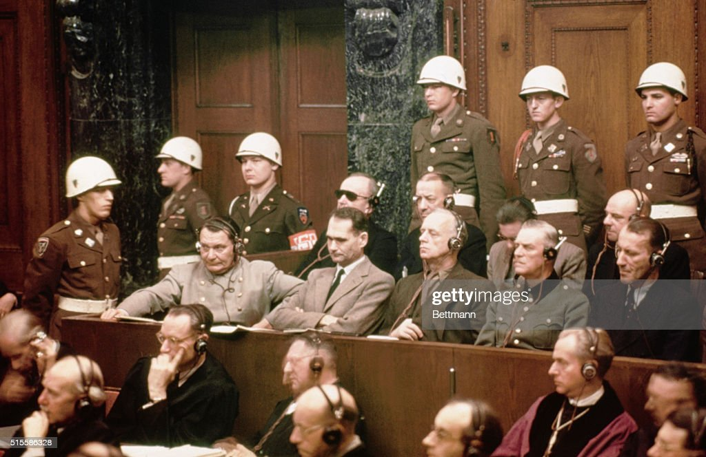 The defendants at the Nuremberg Nazi trials. Pictured in the front row are: <a gi-track='captionPersonalityLinkClicked' href=/galleries/search?phrase=Hermann+Goering&family=editorial&specificpeople=93518 ng-click='$event.stopPropagation()'>Hermann Goering</a>, <a gi-track='captionPersonalityLinkClicked' href=/galleries/search?phrase=Rudolf+Hess&family=editorial&specificpeople=94030 ng-click='$event.stopPropagation()'>Rudolf Hess</a>, <a gi-track='captionPersonalityLinkClicked' href=/galleries/search?phrase=Joachim+Von+Ribbentrop&family=editorial&specificpeople=93593 ng-click='$event.stopPropagation()'>Joachim Von Ribbentrop</a>, <a gi-track='captionPersonalityLinkClicked' href=/galleries/search?phrase=Wilhelm+Keitel&family=editorial&specificpeople=94240 ng-click='$event.stopPropagation()'>Wilhelm Keitel</a> and Ernst Kaltenbrunner. In the back row are: Karl Doenitz, Erich Raeder, Baldur von Schirach, and Fritz Sauckel.