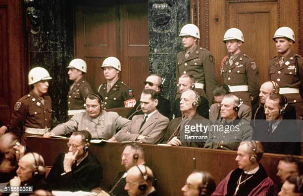 The defendants at the Nuremberg Nazi trials Pictured in the front row are Hermann Goering Rudolf Hess Joachim Von Ribbentrop Wilhelm Keitel and Ernst...